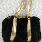 Amy Byer Dinner Handbag Black Bag Gold Handle Trim Fashion Accessory tblot1