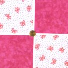 Pretty in Pink Bows and Purple Hearts Cotton Quilt Fabric Squares cc1