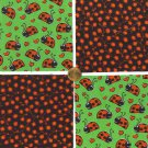 Ladybug Ladybugs and Poppies Cotton Fabric Squares Blocks ZS1