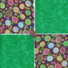4 inch Hard Candy Sweets Green Fabric Quilt Squares 100% Cotton osr3