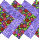 20 4 inch Red Roses and Purple Leaves Fabric Quilt Squares osr5