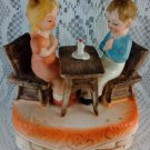 Sankyo Japan Vintage Music Box Boy and Girl at Table with candle praying BS2