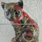 Resin Paisley Cat Statue Figurine Shabby Rose Pink Ribbon tblza1