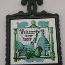 Welcome to Our Home Cast Iron Pot Holder Trivet Black and Green Japan tblvl1