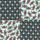 Red Flowers White Black  4 inch 100% Cotton Novelty Fabric Quilt Squares YW1