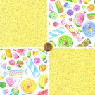Candy Fizzle Pop Wax Candy Taffy Scottie 100% Cotton Fabric Quilt Squares GE