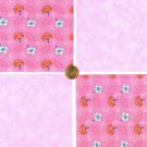 Breast Cancer Flowers Pink  Fabric 100% Cotton Squares 1H  zw1