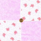 Pretty in Light Pink Bows and Purple Hearts Cotton Quilt Fabric Squares cc1