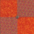 Paisley Print Flowers Orange  4 inch 100% Cotton Novely Fabric  Squares FK1
