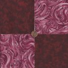 Flowers Cranberry Solid Swirl  100% Cotton Fabric Quilt Square Blocks FT