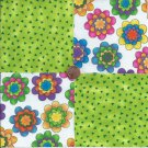 Bright Flowers Lime Chips  4 inch 100% Cotton Novelty Fabric Quilt Squares TB1