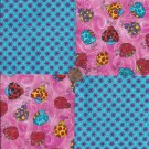 Colorful Ladybugs Red Flowers Blue 100% Cotton Fabric Quilt Square Blocks FT