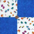 Animal Tracks Paws Prints Blue   4 inch 100% Cotton Novelty Fabric Squares kW1