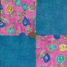 Dynamic Pink Background with Flowers 100% Cotton Fabric Quilt Squares zL1