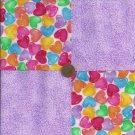 Lavendar Gummy Hearts 4 inch Fabric Craft Square Blocks ZK1