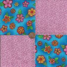 Whimsy Flowers with Dots and Swirls Cotton Fabric Squares PB1