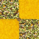 Birds Branches Ivy Berries Golden 100% Cotton Fabric Quilt m8