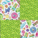 Candy Coated Sugar Lime Specs Cotton Fabric Craft Squares ZA1