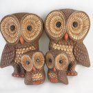 Vintage Wall Hangings Plaques Owls Set of Four Home Decor Collectibles tbluu1