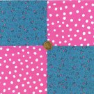Teal Pink Heart Polka Dot  4 inch Fabric Novelty Quilt Squares  my4