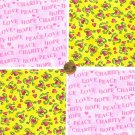 Peace Love Hope Hearts Support  Fabric 100% Cotton Squares Craft  zw1