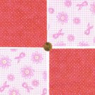 Pink Support Ribbons Cancer Flowers   Fabric 100% Cotton Squares  1T  zw1