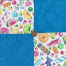 Penny Candy Sweets Treats WOW  4 inch 100% Cotton Novely Fabric  Squares FK1