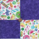 Mouth Watering Grape and Candy  4 inch Fabric Squares PB1