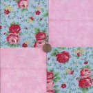 Big Pink Roses and Red 4 inch 100% Cotton Novelty Fabric Quilt Squares kW1