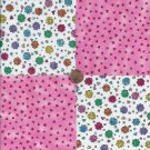 Bright Cheerful Flowers Pink Triangles 100% Cotton Fabric Quilt Square Blocks FT