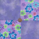 Floating Flowers    4 inch Cotton Fabric Quilt Squares  ZE1