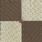 Flowers Beige Tan  100% Cotton Fabric Quilt Square Blocks FT