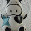 Vintage Cow with Blue Star Money Coin Bank Fund Jar Colored Cute tblnz1
