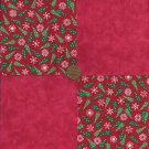 Trees Flakes Red 4 inch Cotton Fabric Quilt Squares Block  zs1