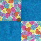Candy Hearts Sugar Sweet Be Mine Blue Fabric Quilt Craft Squares  ZC1