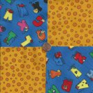 Alphabet Fun Orange Circles 4 inch 100% Cotton Novelty Fabric Quilt Squares kW1
