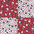 Star Spangled Snowmen Snowman  Cotton Fabric Quilt Novelty Squares gd1