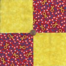 Yellow Ribbon Support Stars  4 inch 100% Cotton Novely Fabric  Squares FS2