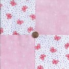 Ribbons Pink White with Hearts 100% Cotton Fabric Quilt Square Blocks GE