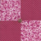 Roses on Pink  Red Circles 4 inch 100% Cotton Novelty Fabric Quilt Squares DE1