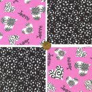 Love Love Pink wiith Black Flowers 4 inch 100% Cotton Novelty Fabric Squares SO1