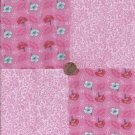 Flowers Pink Ivy Gorgeoous 100% Cotton Fabric Quilt Square Blocks GE