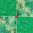Black Flowers and Green 4 inch 100% Cotton Novelty Fabric Quilt Squares TB1