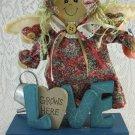 Wood Statue Angel Little Girl Love Grows Here Garden Decorative Adorable tblmn1