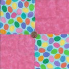 Colored Eggs and Pink  4 inch 100% Cotton Novely Fabric  Squares FS2