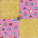 Cupcakes and Yellow Batter  4 inch 100% Cotton Novelty Fabric Quilt Squares TB1