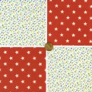 Tiny Flowers and Stars 4 inch 100% Cotton Novelty Fabric Quilt Squares DE1
