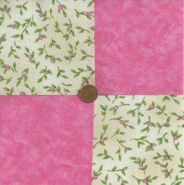 Tiny Pink Rosebud Rosebuds 4 inch Fabric Quilt Squares Block zk1