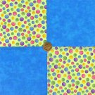 Multi Colored Dots Swirls and Blue 100% Cotton Fabric Squares  Blocks my8