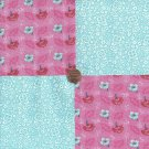Flowers Pink Blue White 100% Cotton Fabric Quilt Square Blocks GE